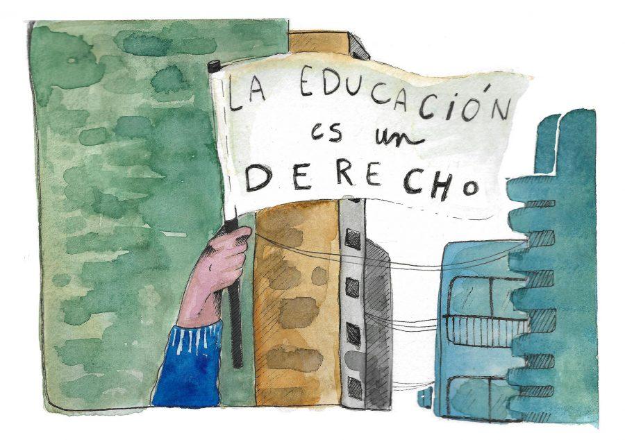 La educación pública es un derecho. La imagen ilustra la conversa sobre los problemas de la privatización de la educación.