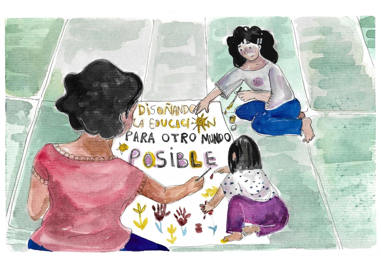 """El financiamiento y la privatización de la educación es un tema ampliamente discutido por las organizaciones de los derechos humanos.La ilustración figura la investigación de CLADE sobre el tema y presenta dos niñas pintando con su maestra las palabras """"Disoñando la educación para otro mundo posible"""""""