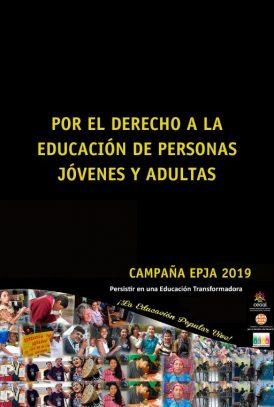 """Imagen de divulgación del blog Campaña EPJA 2019. Reunión de fotografías de distintas personas y las palabras """"Por el derecho a la educación de personas jóvenes y adultas""""."""