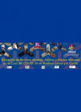 Banner del blog CEAAL sobre la EPJA en la crisis del COVID-19. Azul, fotografías de personas y el título de la publicación.
