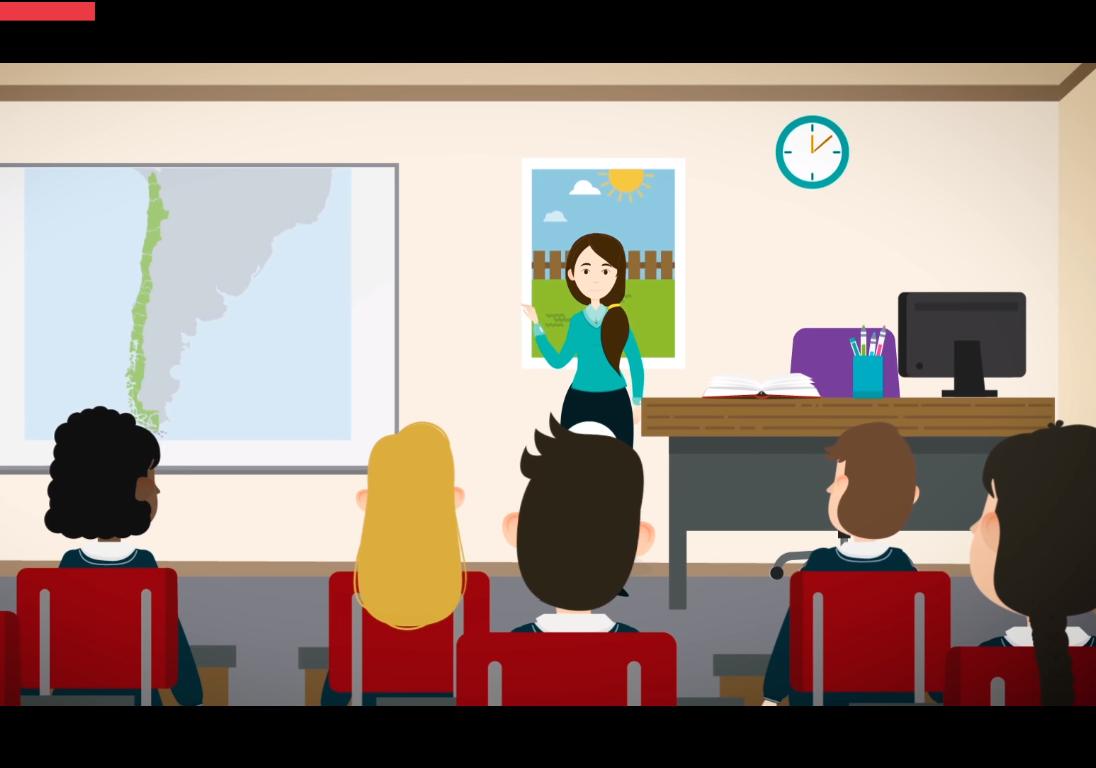 Dibujo de estudiantes en una clase, con la maestra frente a un mapa de Chile