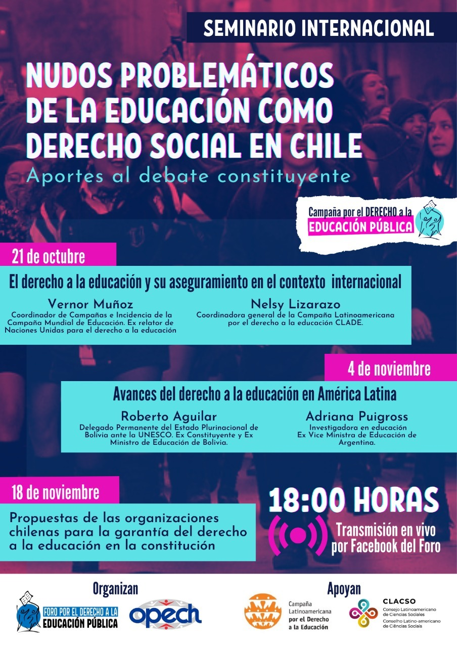 """El Foro por el Derecho a la Educación Pública de Chile ha formado parte de un intenso debate sobre el concepto de """"libertad de enseñanza"""". El seminário habló del derecho a la educación pública"""