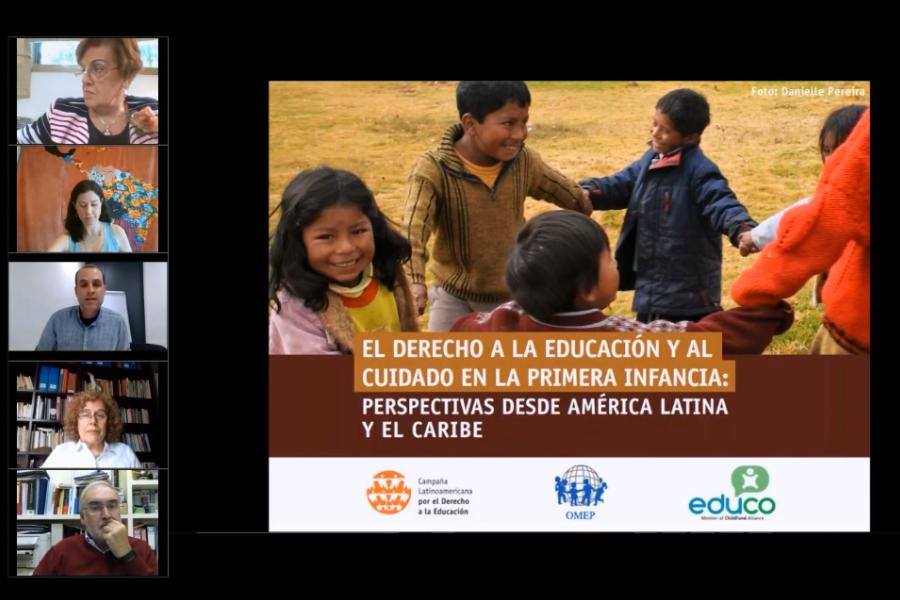 Captura de pantalla del seminario virtual de lanzamiento del estudio, mostrando las y los oradoras/es y la portada del documento