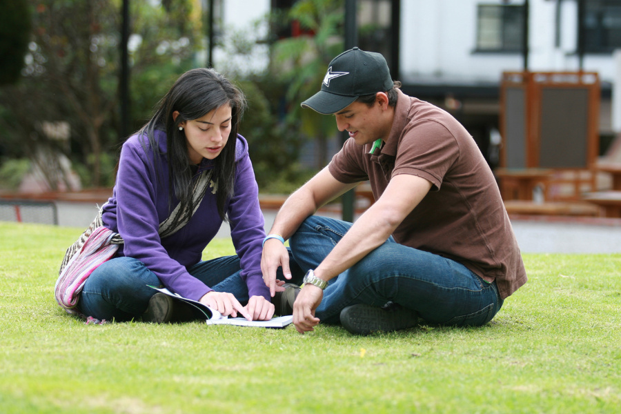2 jóvenes, una mujer y un hombre, sentados en la hierba y leyendo el mismo libro.