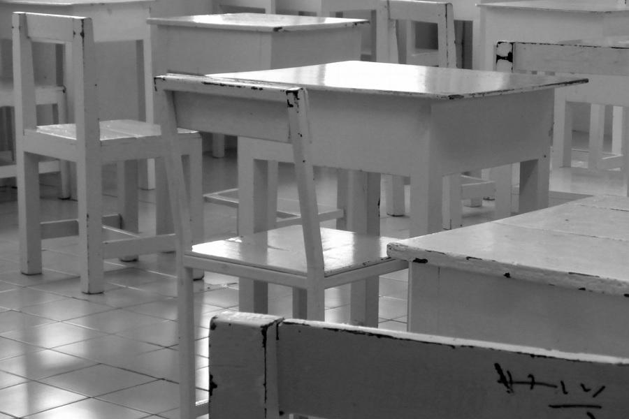 """#ParaQueTodosVean La foto muestra varios pupitres y sillas de madera de color blanco con los bordes gastados que dejan ver el color de una madera oscura. En el extremo inferior izquierdo, sobre un fondo verde claro, se ve el logotipo de la CLADE, que es un círculo naranja, dentro del cual personas dibujadas en color blanco se dan las manos. Al lado del logotipo, sobre el mismo fondo verde, está el texto blanco que dice: """"Honduras: guía presenta recomendaciones para la garantía del derecho a la educación en tiempos de Covid-19"""". En el extremo inferior derecho están los créditos de autoría de la foto, con el texto: """"Foto: Public Domain Pictures.net"""". Fin de la descripción."""
